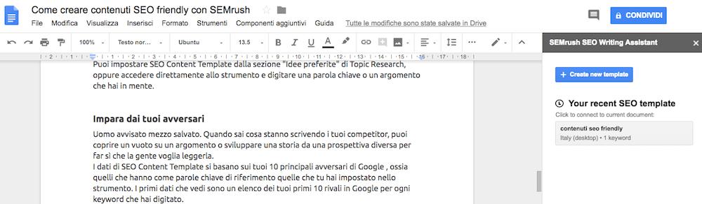 SEO Writing Assistant di SEMrush installato nei Componenti aggiuntivi di Google Docs