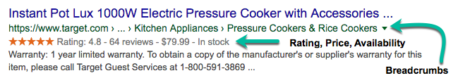 Screenshot of a rich result from Target for the Instant Pot Lux 1000W Electric Pressure Cooker