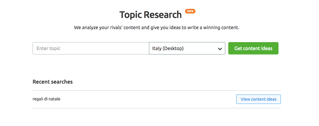 Topic Research: il nuovo tool di SEMrush per i content marketer