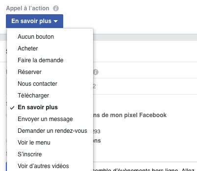Bouton d'appel à l'action sur Facebook