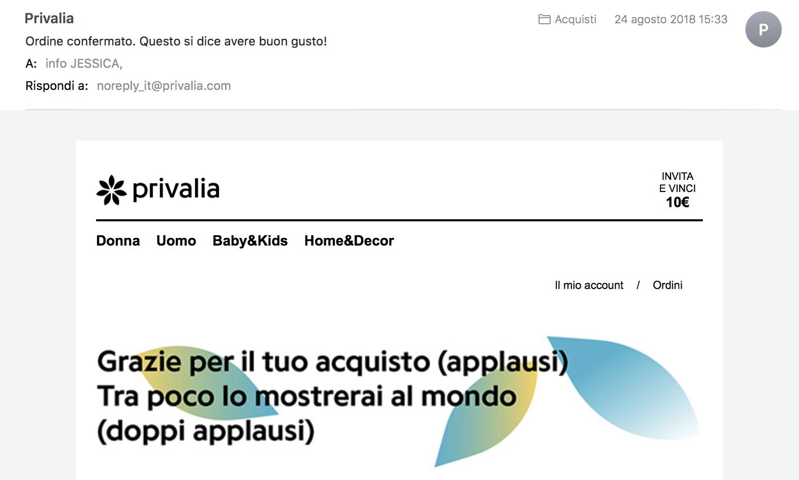 Esempio microcopy efficace: E-mail di conferma acquisto da Privalia