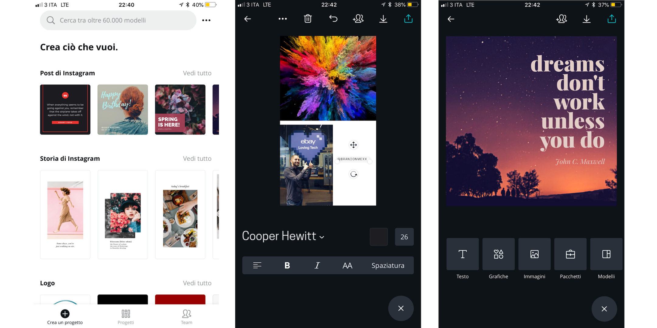 canva, graphic-design per immagini su Instagram