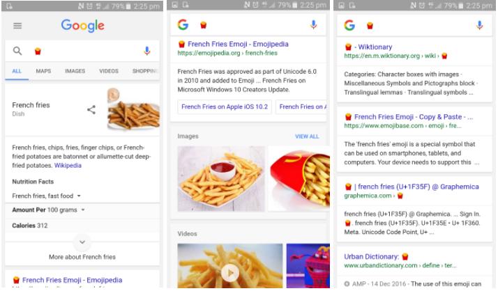 Risultati nelle serp di Google cercando l'emoji delle patatine fritte
