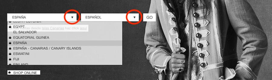 Ux design: simboli standard per un menu a discesa in un sito multilingue