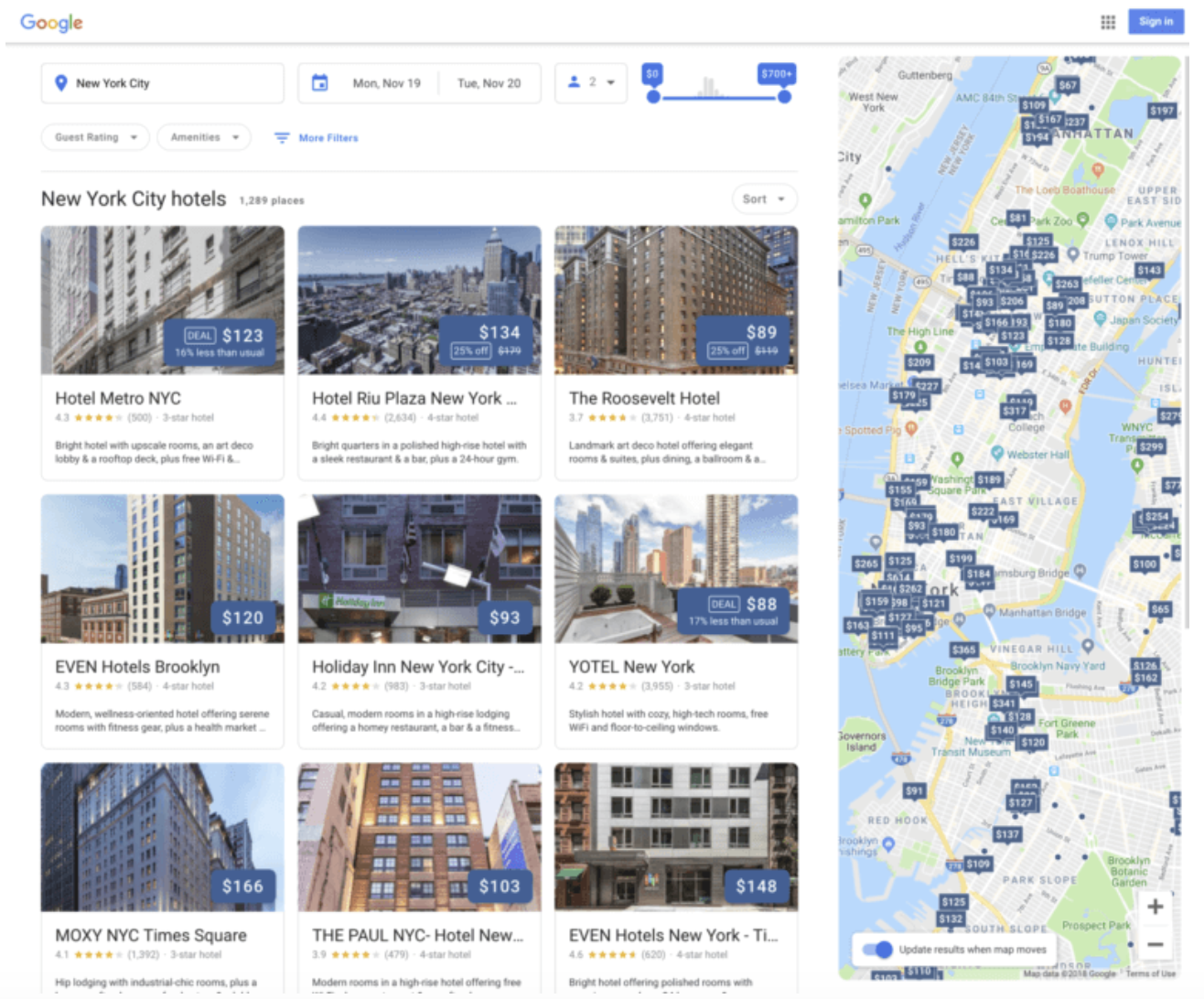 google hotel search redesign