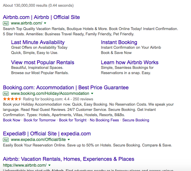 Ads for branded keywords