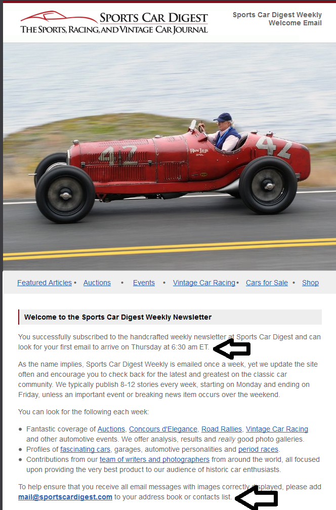 Sports Car Digest Weekly Welcome Email