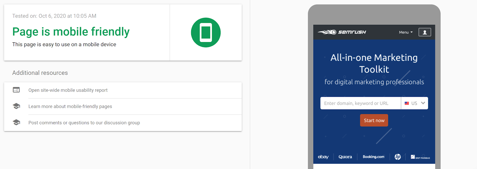 Google Mobile-Friendly Test Tool screenshot