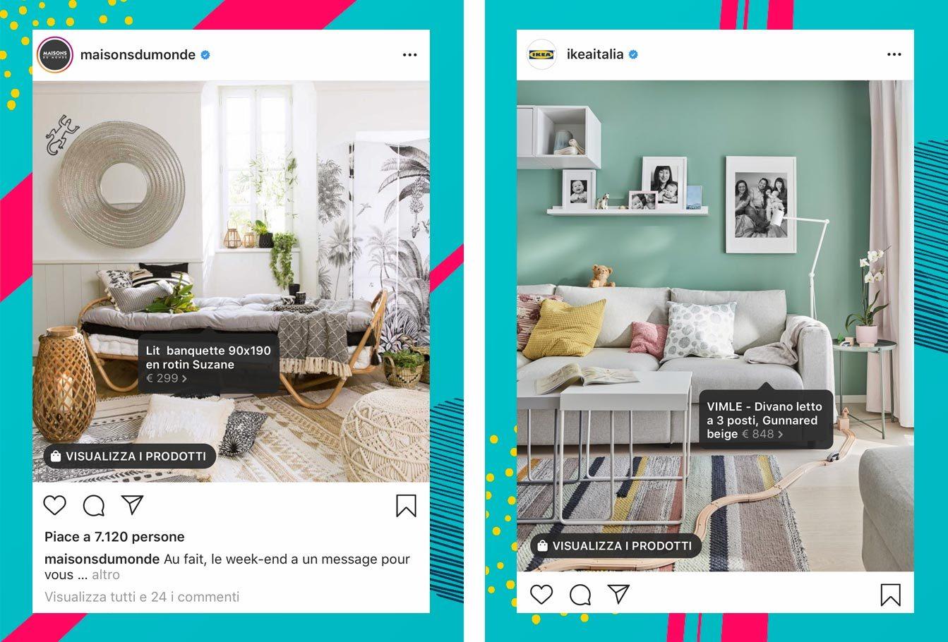 Esempi Instagram Shopping arredamento