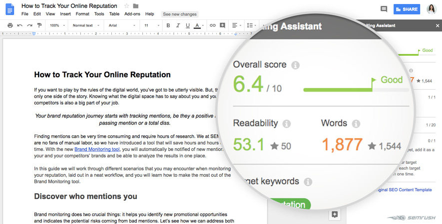 SEO Writing Assistant per verificare la qualità dei tuoi contenuti