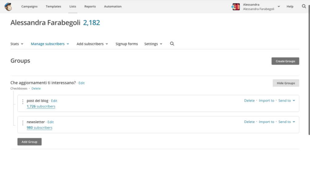 Creare una newsletter con MailChimp: definire i gruppi