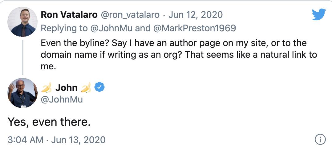 John Mu's tweet about links in bylines