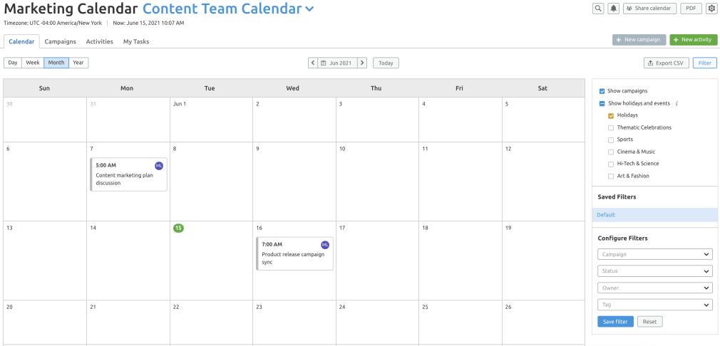 Semrush for content marketing - Marketing Calendar