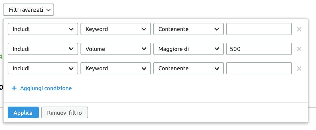 esempi di combinazioni dei filtri avanzati dello strumento ricerca di advertising