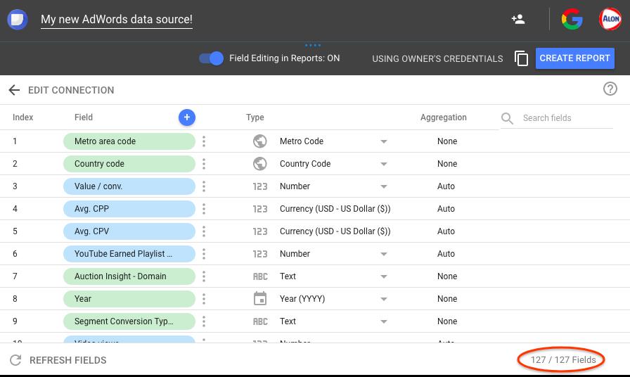 Google Adwords Data Studio