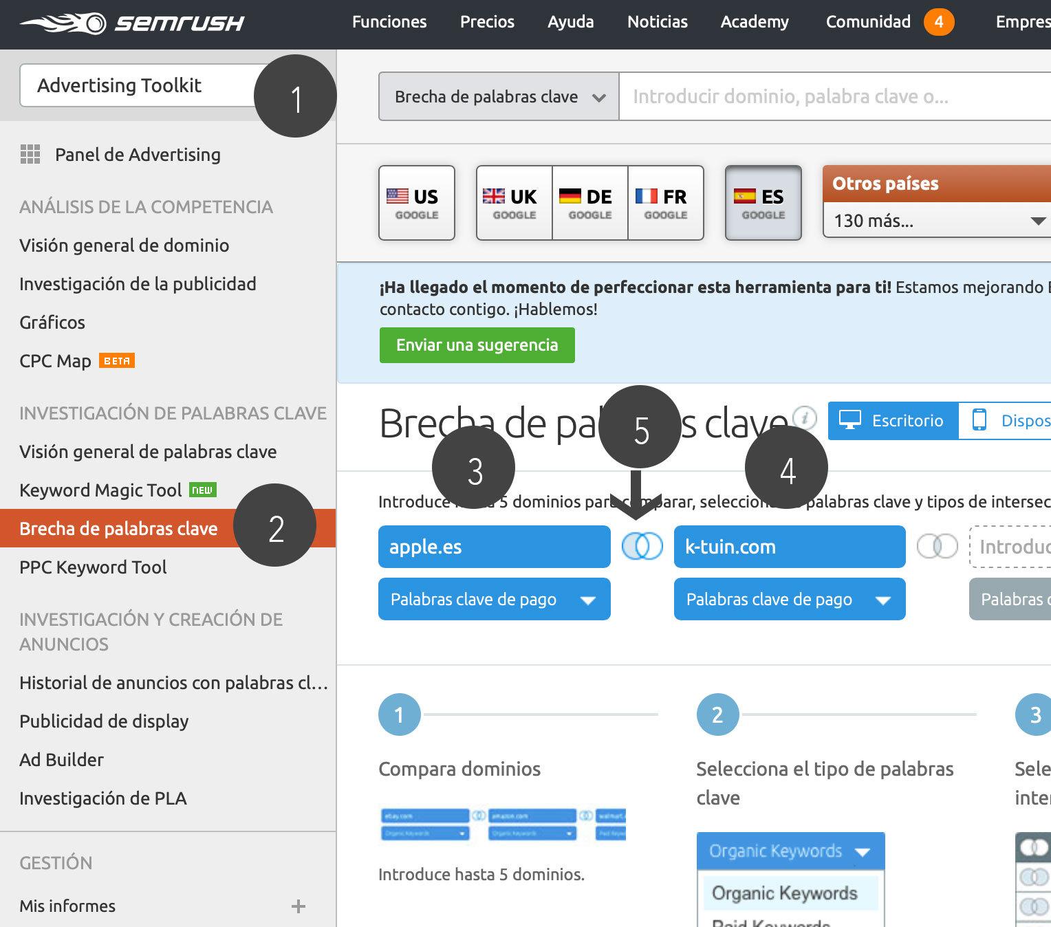 Brecha de palabras clave - Cómo crear campañas de Google Ads