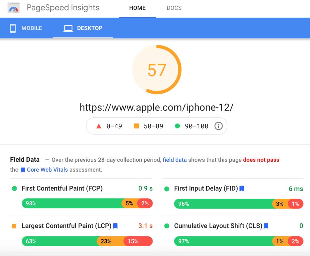 desktop apple iphone landing page speed insights