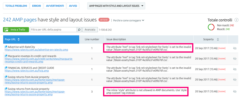 Errori di codifica per mancato utilizzo degli attributi AMP personalizzati