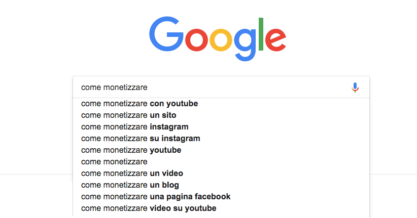 Google suggest per le ricerche correlate