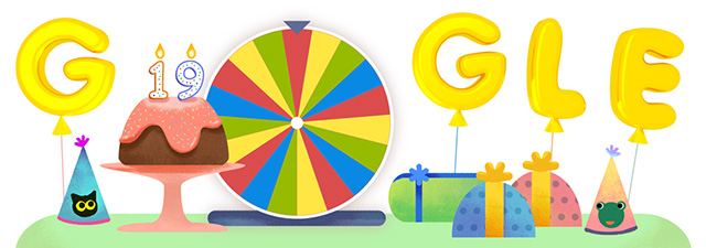 Google birthday surprise spinner doodle