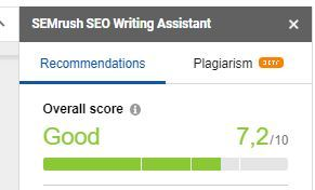 Tela do Semrush SEO Writing Assistant