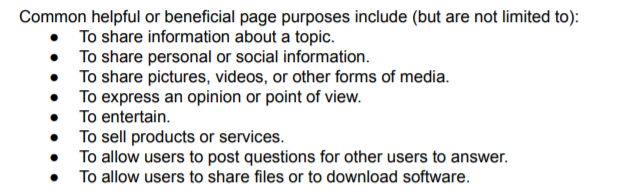 Beneficial Page Purposes