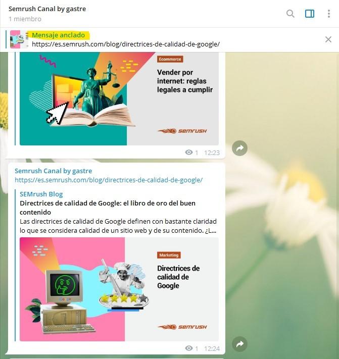 Canales de Telegram - Ejemplo de mensaje anclado de SEMrush