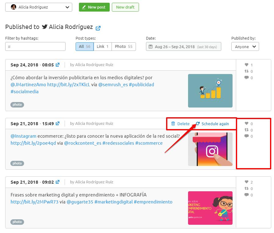 Planificación de contenidos en redes sociales - Republicar