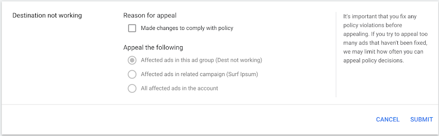 Submit Google Ads appeal