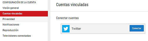 Crear canal Youtube - Conectar Twitter a YouTube