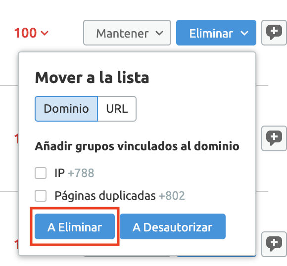 Analizar backlinks y enlaces SEO - Eliminar enlaces con contacto a propietario