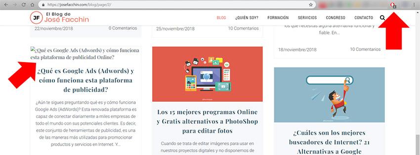 Que es un Adblock: Ejemplo bloqueo en blog de José Facchin