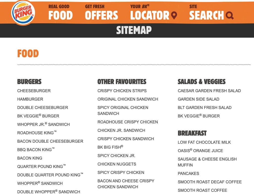 Burger King Canada sitemap