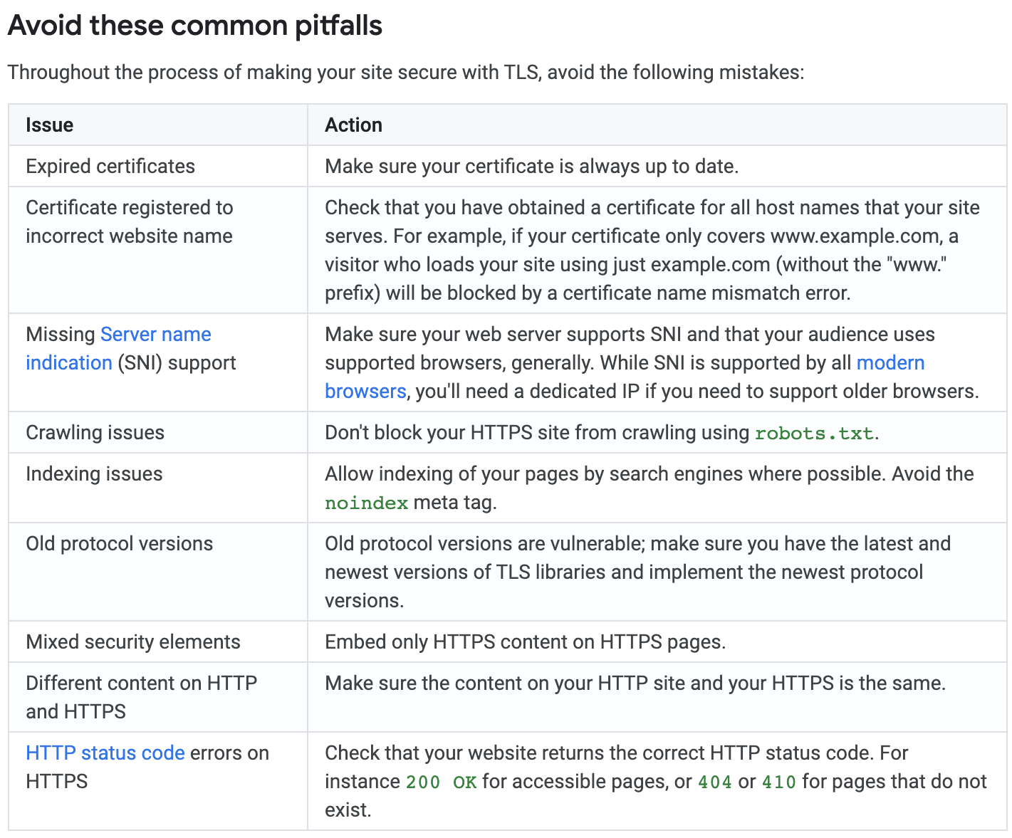 Google's recommendations on TLS, things to avoid