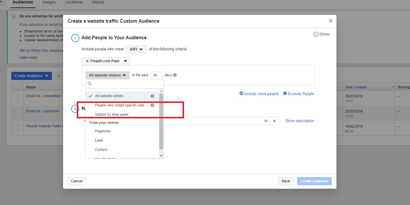 Creating custom audiences on Facebook.