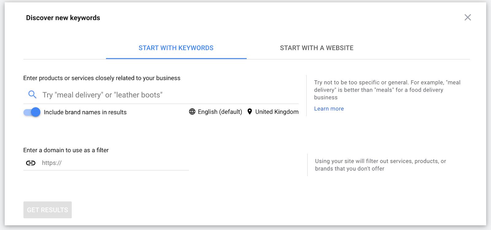 discover keywords - keyword planner