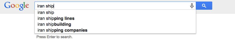 Google search for Iran