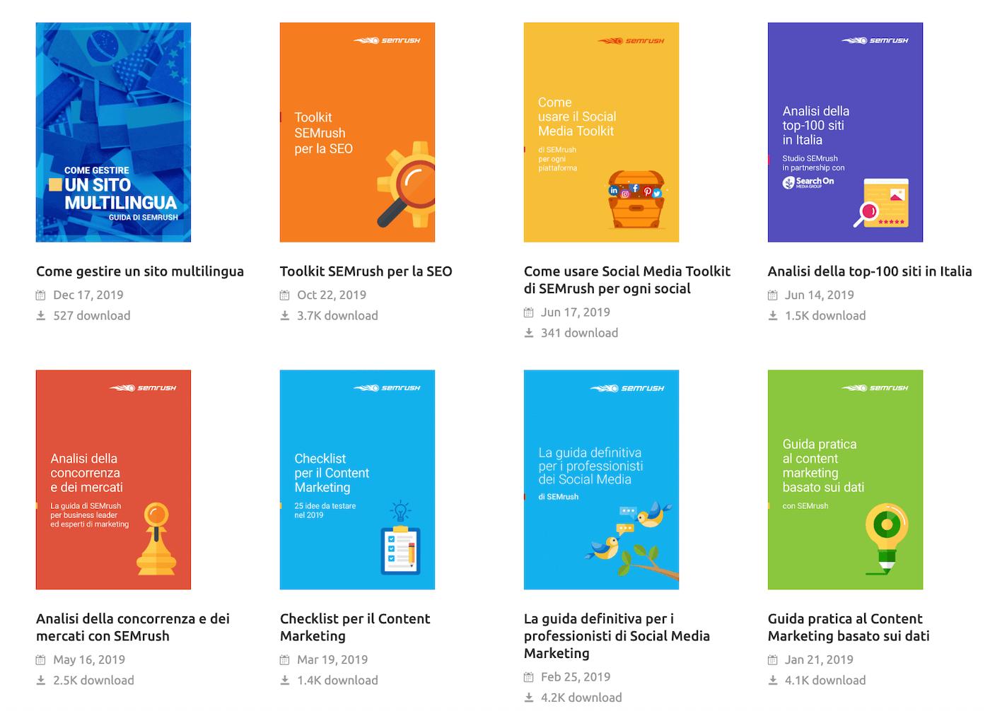 Come usare SEMrush: gli ebook gratuiti