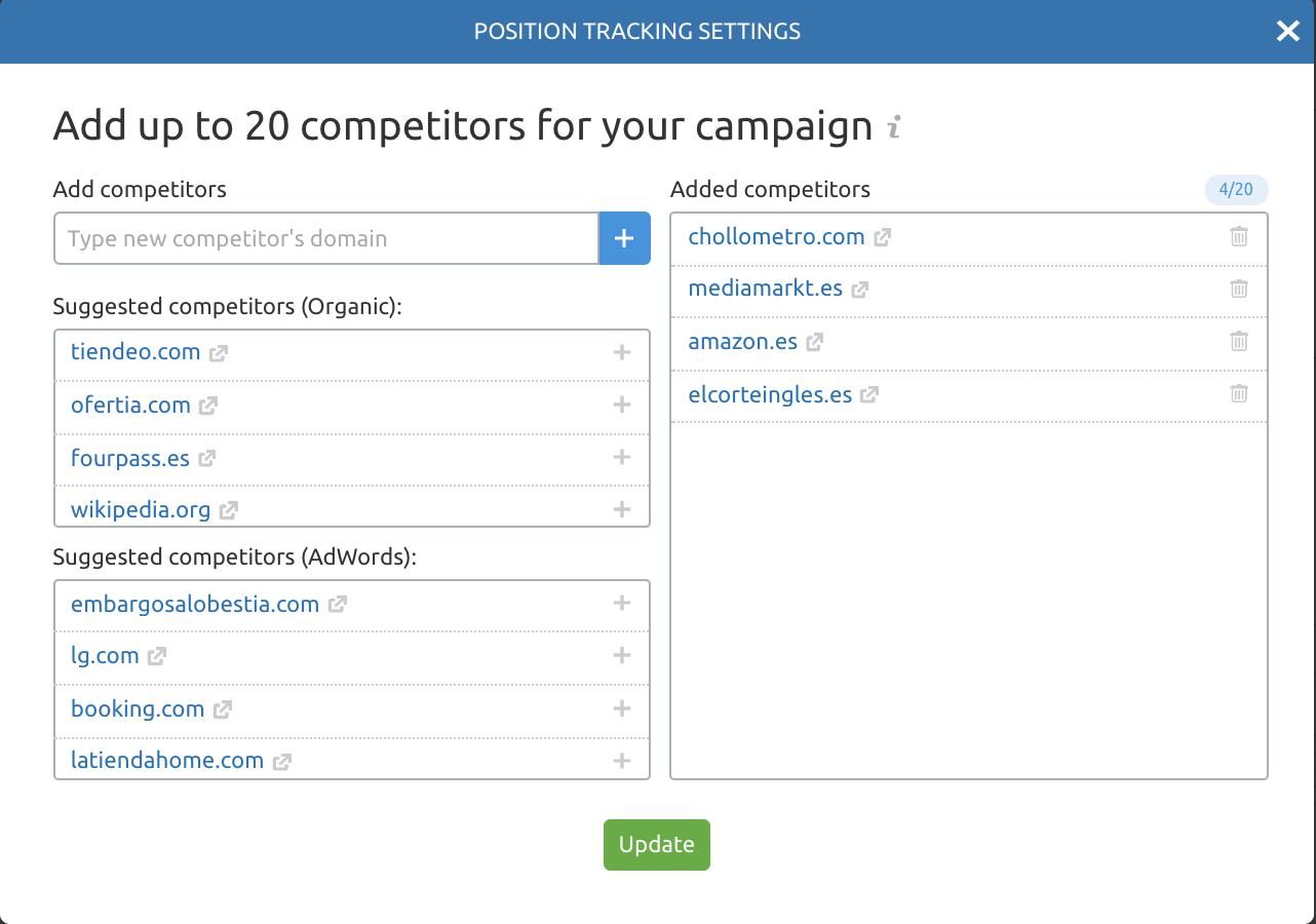 SEMrush Position Tracking - Añadir competidores