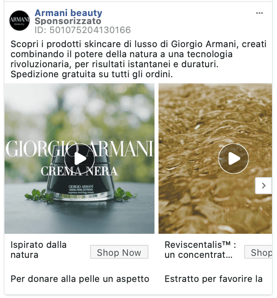 giorgio armani facebook video ad
