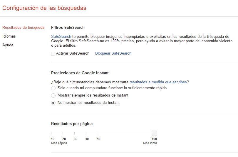 Configurar las búsquedas en Google