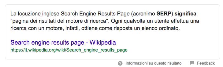 Esempio di uno snippet in primo piano nella ricerca su Google