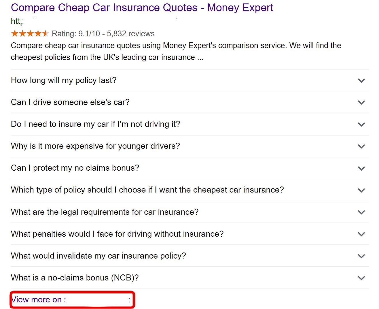 10 Fragen und Website-Link im Suchergebnis