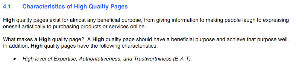 Google guidelines Characteristics of High Quality Pages