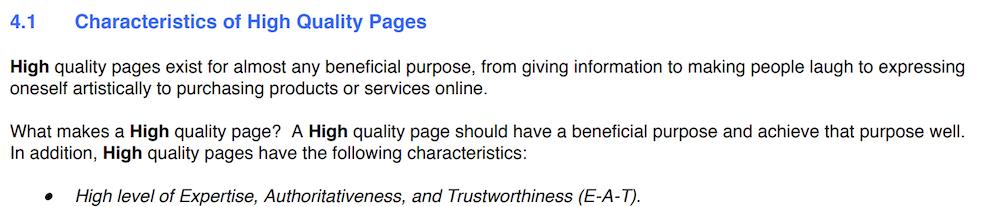 Directrices de Google Características de las páginas de alta calidad