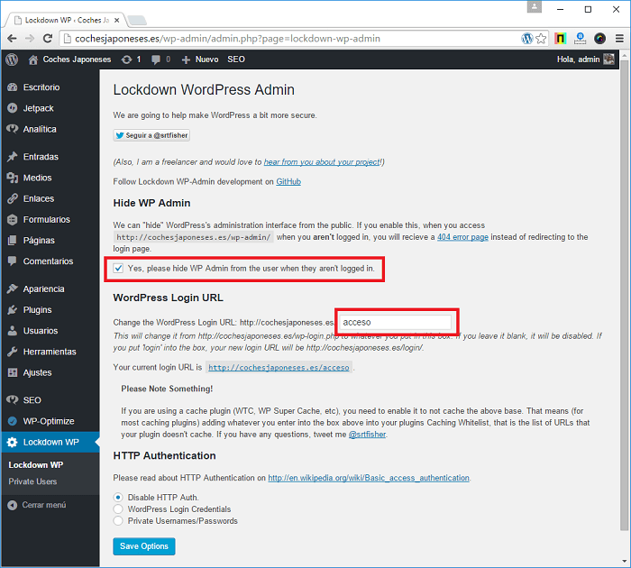 Seguridad informática - Cambiar URL