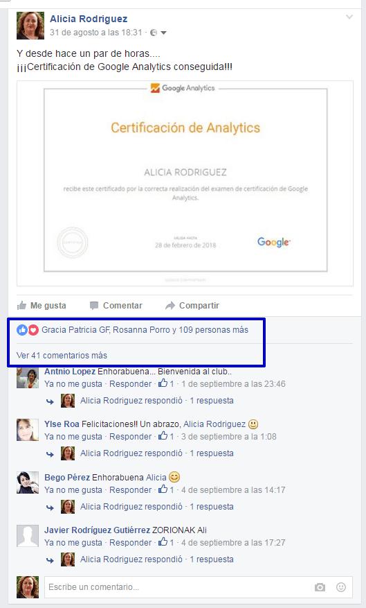 Publicación de certificación Google Analytics y alcance en Facebook
