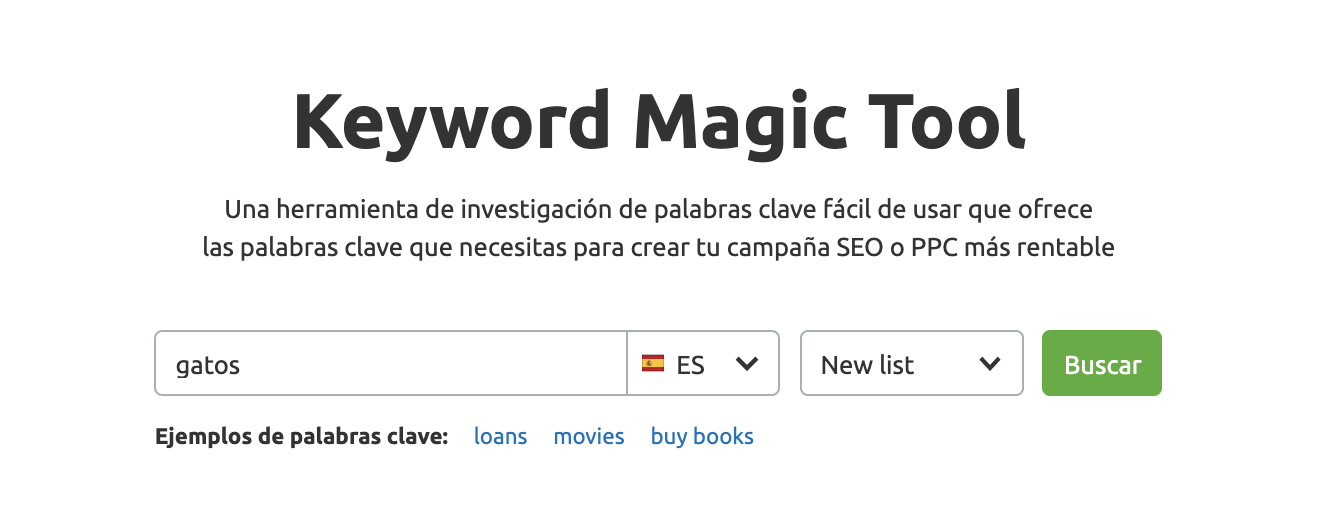 Investigación de palabras clave - Keyword Magic Tool