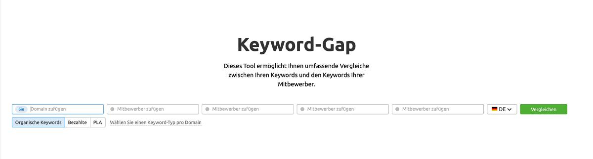SEMrush Keyword-Gap