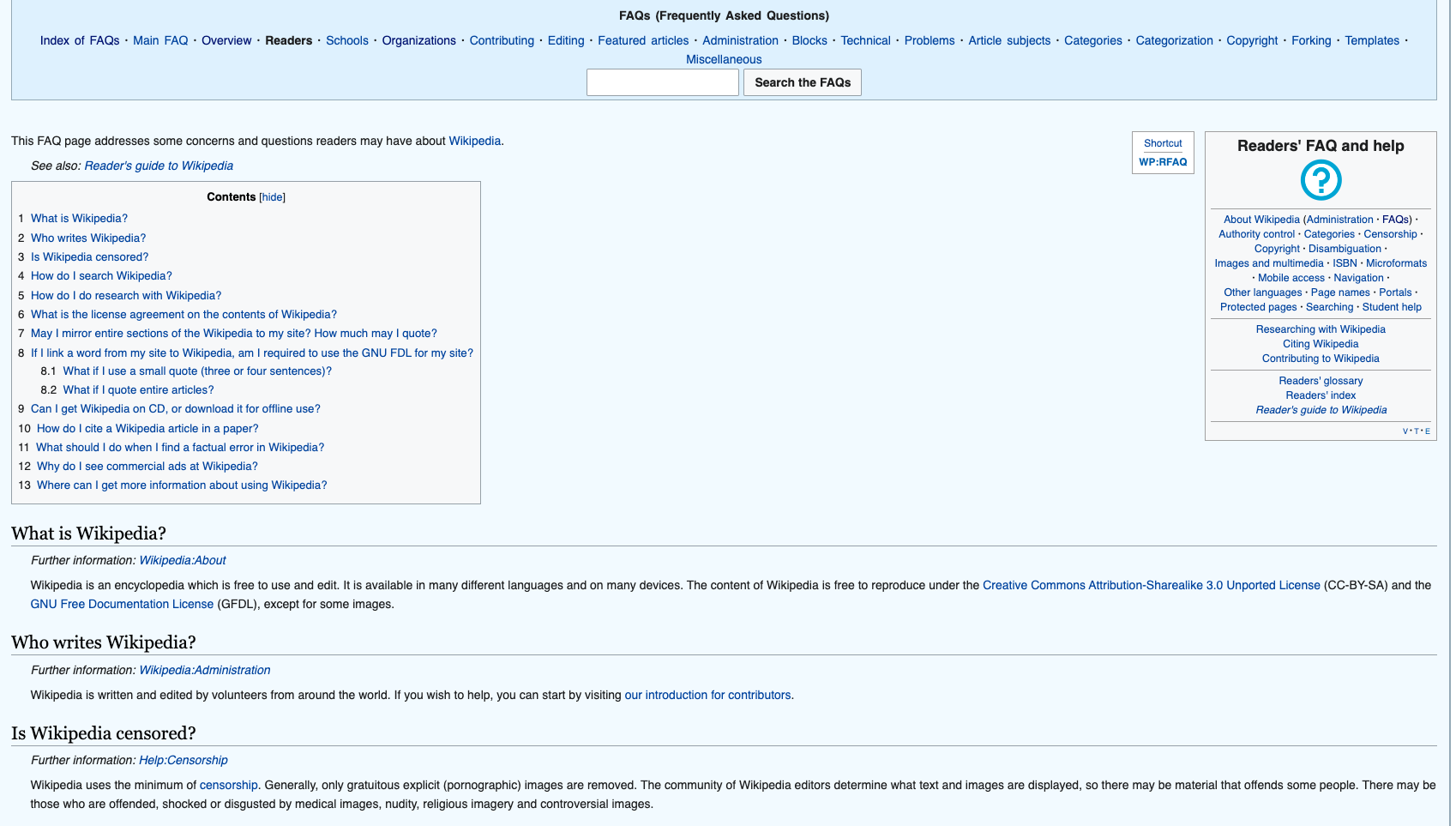 Wikipedia Questions page example
